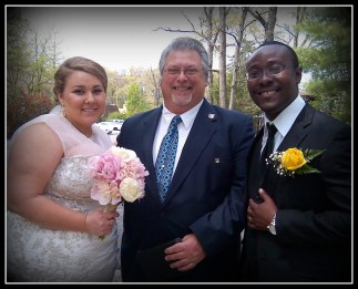 John with Christine and Paa Kwesi - joining two continents, two countries and one happy couple!